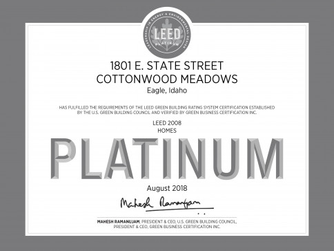 PLATINUM CERTIFIED FROM US GREEN BUILDING COUNCIL